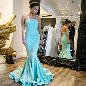 Strapless Long Prom Dresses Mermaid Sleeveless Open Back Simple Design Sweep Train Evening Formal Party Dress Vestido De Fiesta