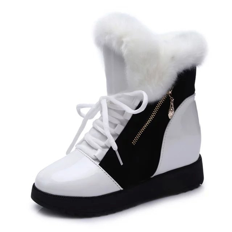 Women Boots High Quality PU Leather Ankle Boots Women Snow Boots Platform Winter Shoes Height Increasing Boots only true love high quality women boots winter snow boots
