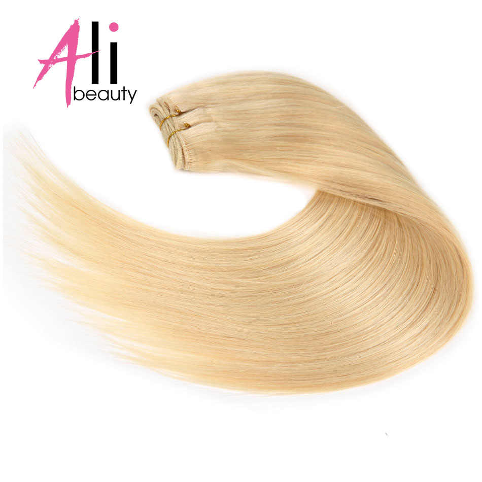 "Ali-Beauty #613 Straight Blonde Human Hair Weave Brazilian Remy Human Hair Extensions 18-24"" Weft"