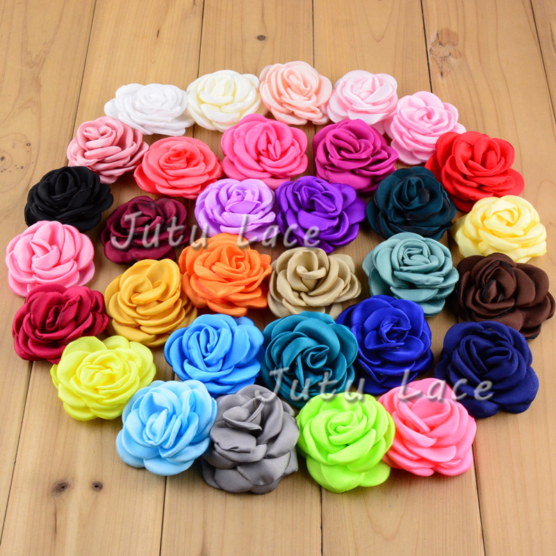 32 Colors Frany Singed Chiffon Flower for Kid Headbands Hair Accessory 30pcs/lot Artificial Rose Handmade Fabric Flower