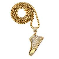 29inch Iced Out Stainless Steel Hip Hop Men Women Rhinestone Micro Running Shoe Pendant Necklace Long