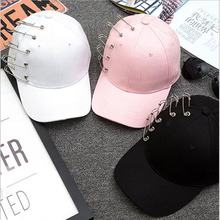 Pink White Black Personality Pin Kpop Women Men Curved Brim Plain Blank Snapback Cap Cap Summder Fishing Trucker Hat