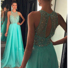 Luxus Grün Strass Perlen Lange Prom Kleider Sexy Open Back Sleeveless Abendkleid Einzigartige Kristall Prinzessin Prom Kleid