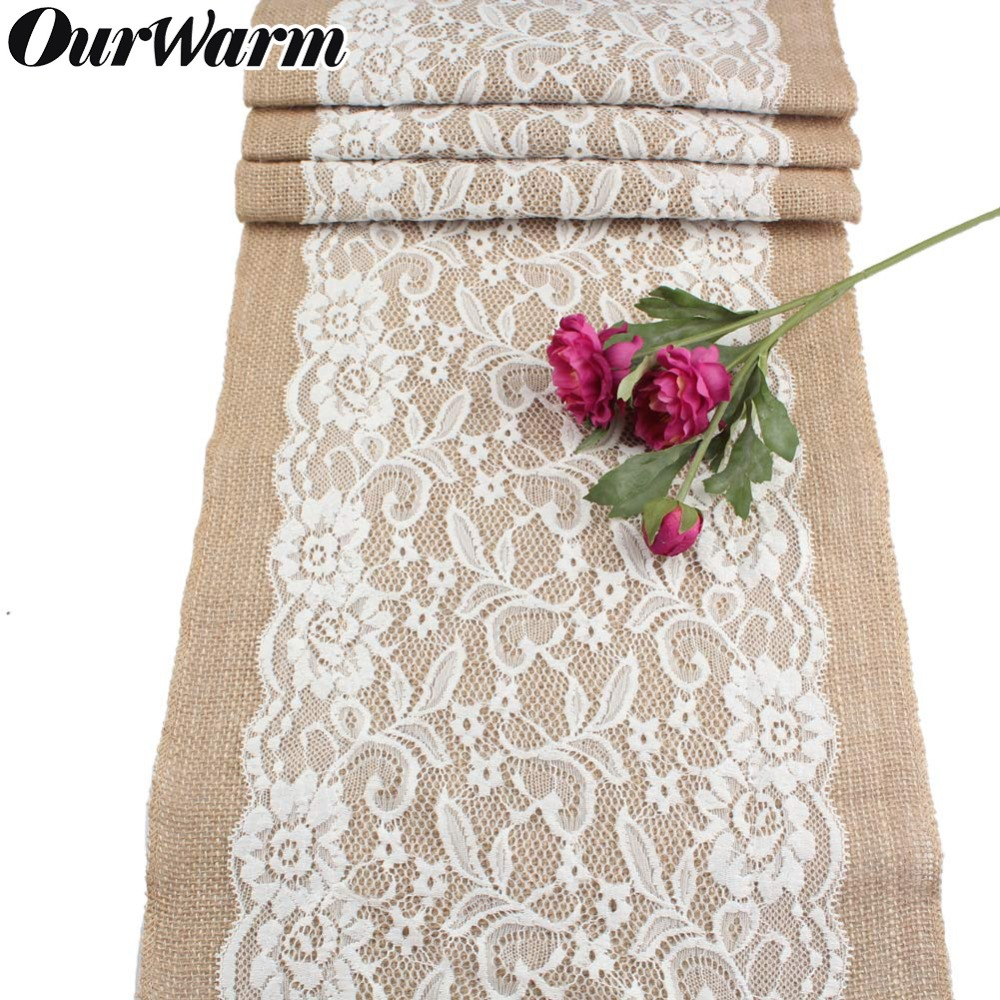 OurWarm Vintage Burlap Lace Table Runner For Weddings Natural Jute Country Party Banquet Wedding Party Supplies Home Textile