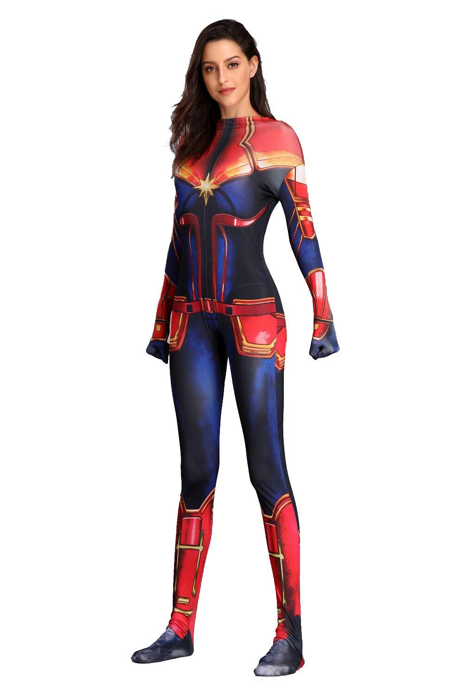 Captain Marvel Cosplay Costume Reunion Movie COS Clothing Bodysuit