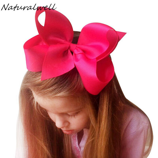 98c5daf6bb37 Naturalwell 6 inch Hair bows for girls Children girls hair clip Large hair  bow baby bow girl hair accessories 16colors BB010D