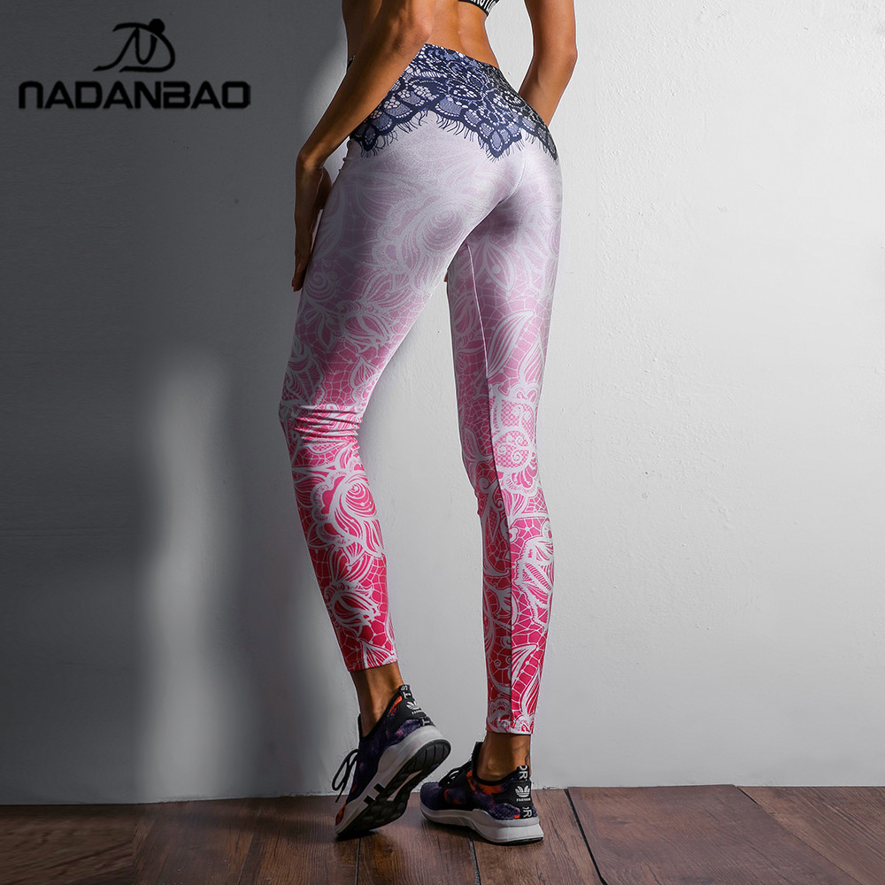 NADANBAO 2019 Women Leggings Mandala Flower Digital Print Slim Pink Fitness Woman Leggins Workout Plus Size High Waist Pants