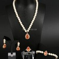2017 delle Donne di Lusso di modo insiemi di Jewellry oro e argento Placcato 4 colori giallo Strass Simulate perla Gioielli Da Sposa Set