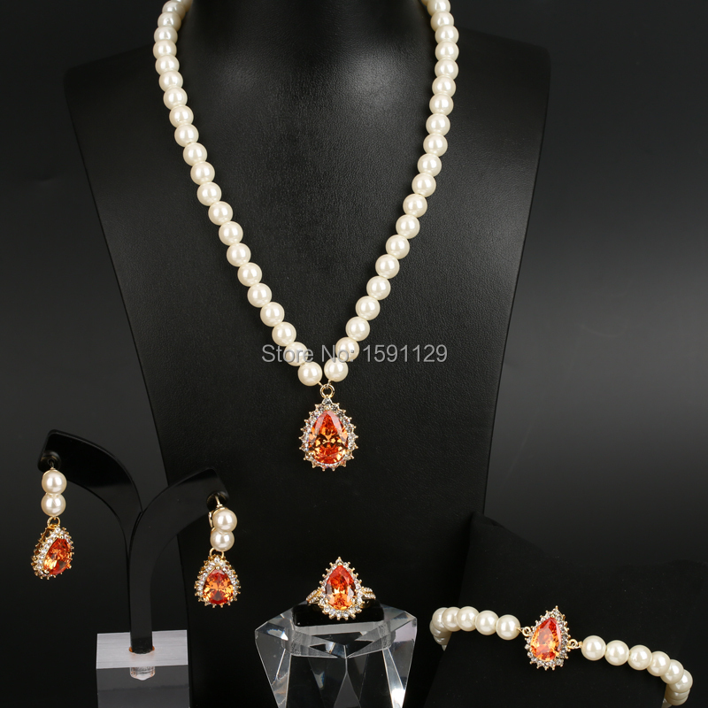 2018 Luxury Women's fashion Jewellry sets gold and silver Plated 4 colors yellow Rhinestone Simulate pearl Wedding Jewelry Set