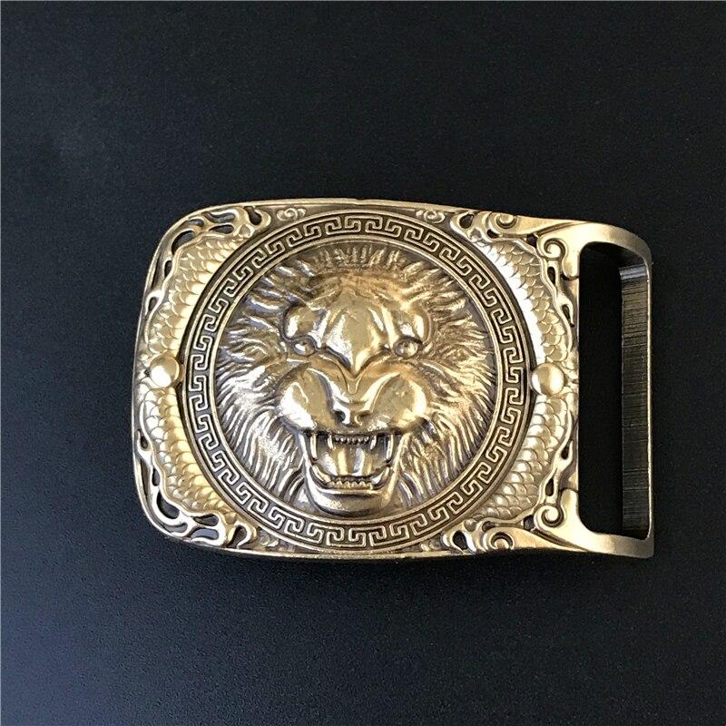 Lion Head Belt Buckle Solid Brass Cowboy Belt Diy Accessories Men Belts Buckles Luxury Male Jeans Strap Buckle Belt BK0069