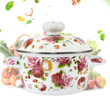 цена 18CM two-ear enamel pot household thickened soup pot stew pot gas induction cooker general purpose cooker в интернет-магазинах