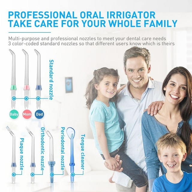Nicefeel Water Flosser Dental Oral Irrigator Teeth Cleaner Pick Spa Tooth Care Clean With 7 Multifunctional Tips For Family