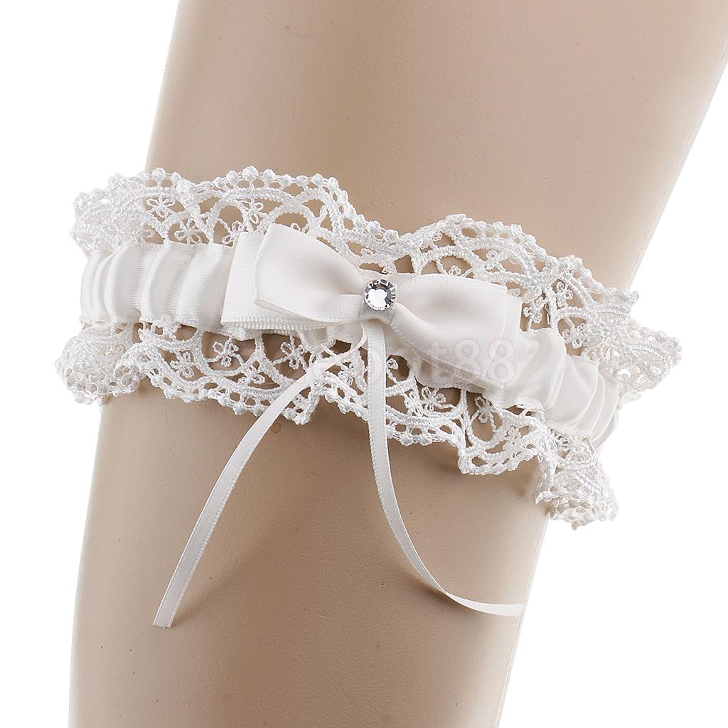 Beautiful Wedding Bridal Shower Bride Keepsake Lace Floral Rhinestone Bow Women Ladies Garter Hen Night Supply