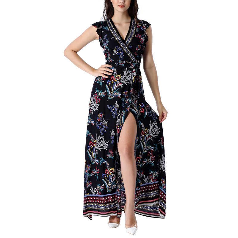 Vfemage женские сексуальные летние Boho Цветочные печати манжеты с оборками рукавом карманы Сплит поясом повседневные пляжные вечерние платья макси длинное платье 027