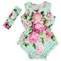 2016 nueva Baby Girl Pretty summer Mameluco Del Mameluco de La Flor de Pom pom Color de Rosa infantil Del Bebé mameluco del bebé floral baby girl boutique trajes
