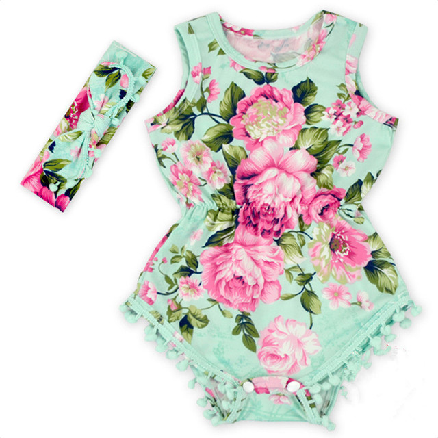 ba8fc1a64 2018 new Baby Girl Pretty summer Romper Flower Pom Pom Romper Child Rosy Baby  Girl baby floral romper baby girl boutique clothes