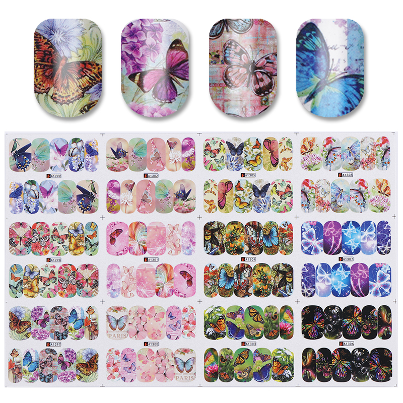 12 Patterns Big Sheet Water Decal Butterfly Pattern Decal Manicure Nail Art Transfer Sticker A1297-A1308 12 patterns big sheet water decal butterfly manicure nail art transfer sticker a1297 a1308