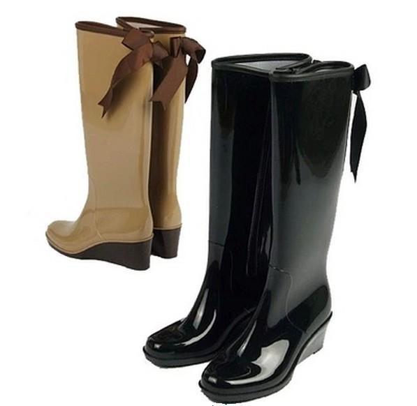 db0cb724a045 2015 fashion wedge heel high women s rain boots tall zipper bow fashion  rainboots water shoes rubber boots ladies stivali donna