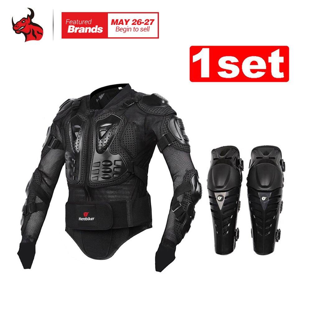 HEROBIKER Moto Corps Armure De Protection Veste + De Protection Moto Genou Pad Kits Costumes Motocross Armure Moto Veste