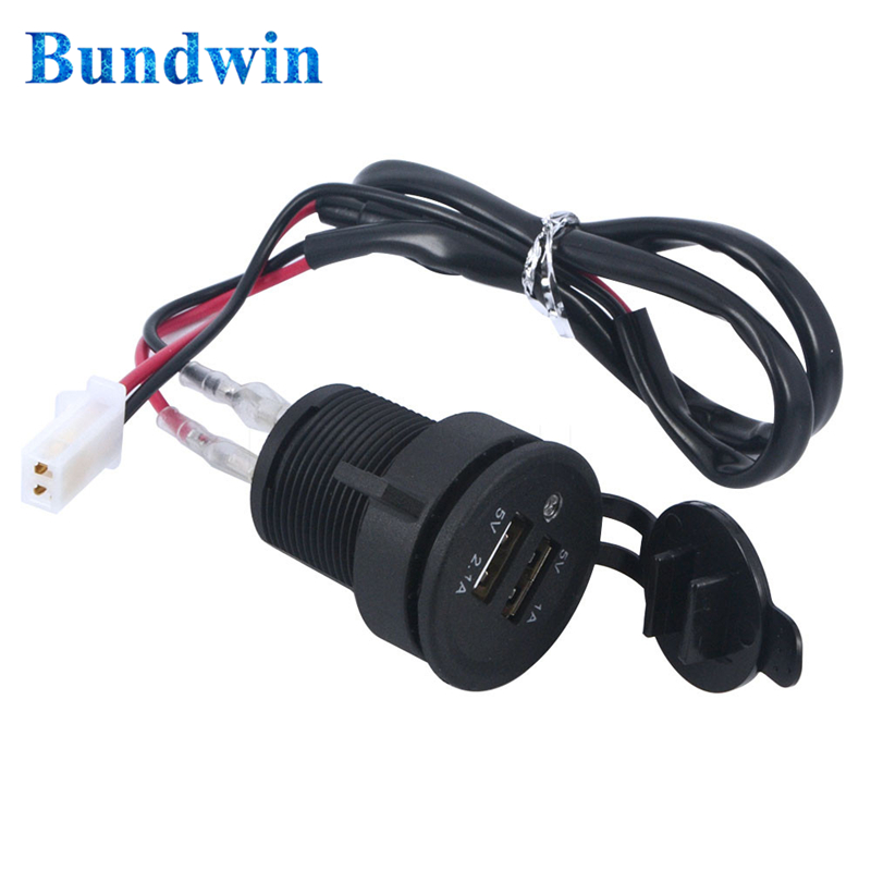 Bundwin DC 12V Dual USB Phone Charger Motorcycle Car Cigarette Lighter Socket Charger Power Adapter for Cars Motorcycles sony беспроводные наушники