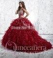 2017 Nueva Red Vestidos de Quinceañera Balón vestido de Novia Con Organza rebordear Fuera del Hombro Ata Para Arriba El Vestido de 15 Años QA147