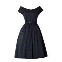 Vintage 50s60s Hepburn Black Dress Short Sleeve V neck Puff Classic Vintage Goth Women Party Dresses