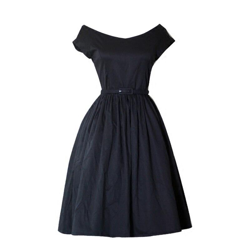 Vintage 50s60s Hepburn robe noire à manches courtes col en v bouffée classique Vintage Goth femmes robes de soirée