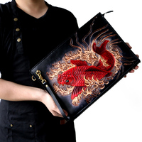 Special custom High capacity Handmade Men Vegetable Tanned Leather Bag Clutch Purse Pocket Clutches Man lucky Red Carp Envelope