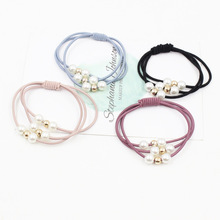 JZJR High Elastic Hair Bands Multi-layer Pearl Ring Korean Stretch Ties For Women Girls Ponytail Holder Accessories