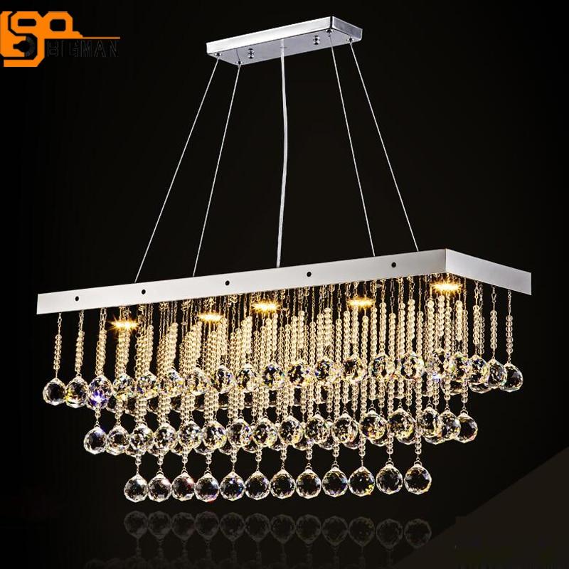 rectangular design dinning room crystals chandeliers lamp lustre GU10 LED light fixtures