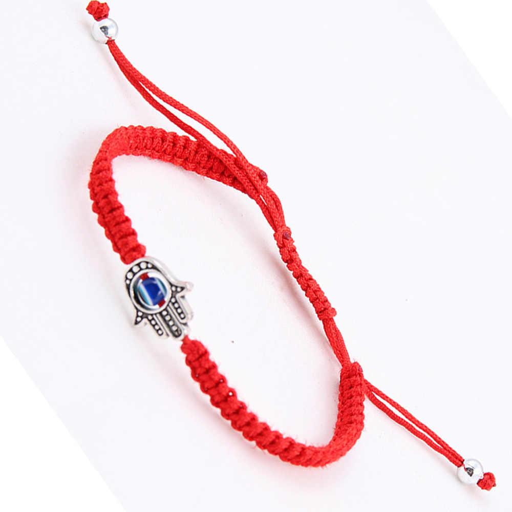 70e2a6ccaaee Suerte de la Cábala rojo cadena hilo pulsera Hamsa turco mal de ojo encanto  mujeres cuerda