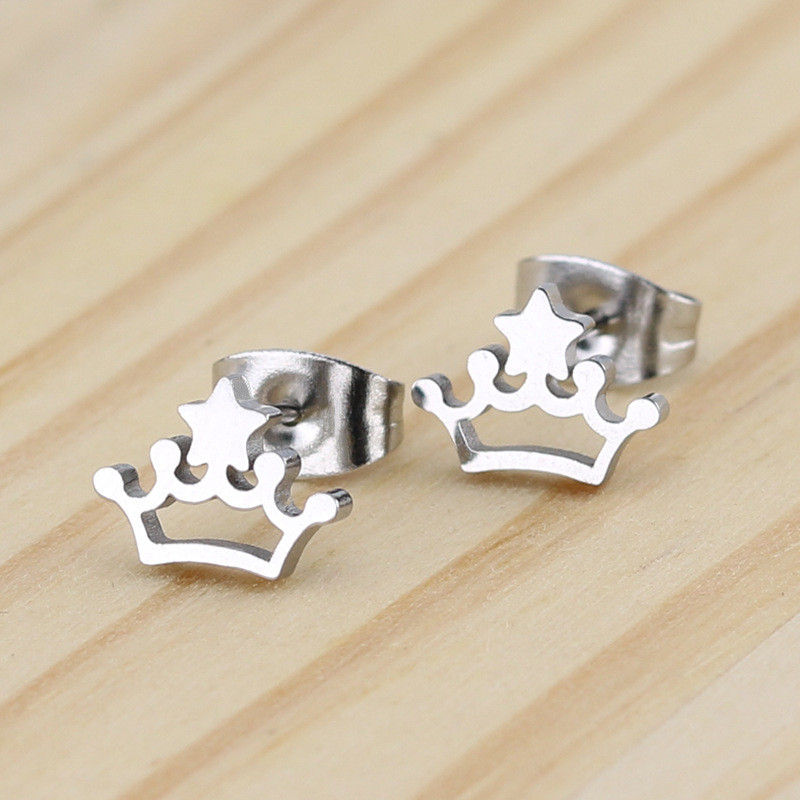 Star Crown shaped Stainless steel Stud Earring For Women Men Simplicity Hip Hop Gold Silver Color Ear Jewelry Gifts