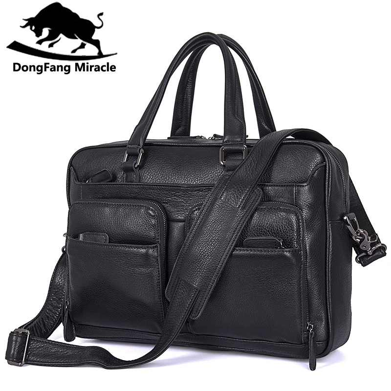 DongFang чудо натуральная кожа мужские сумки действительно яловая мужская сумка через плечо портфель мужская сумка для ноутбука