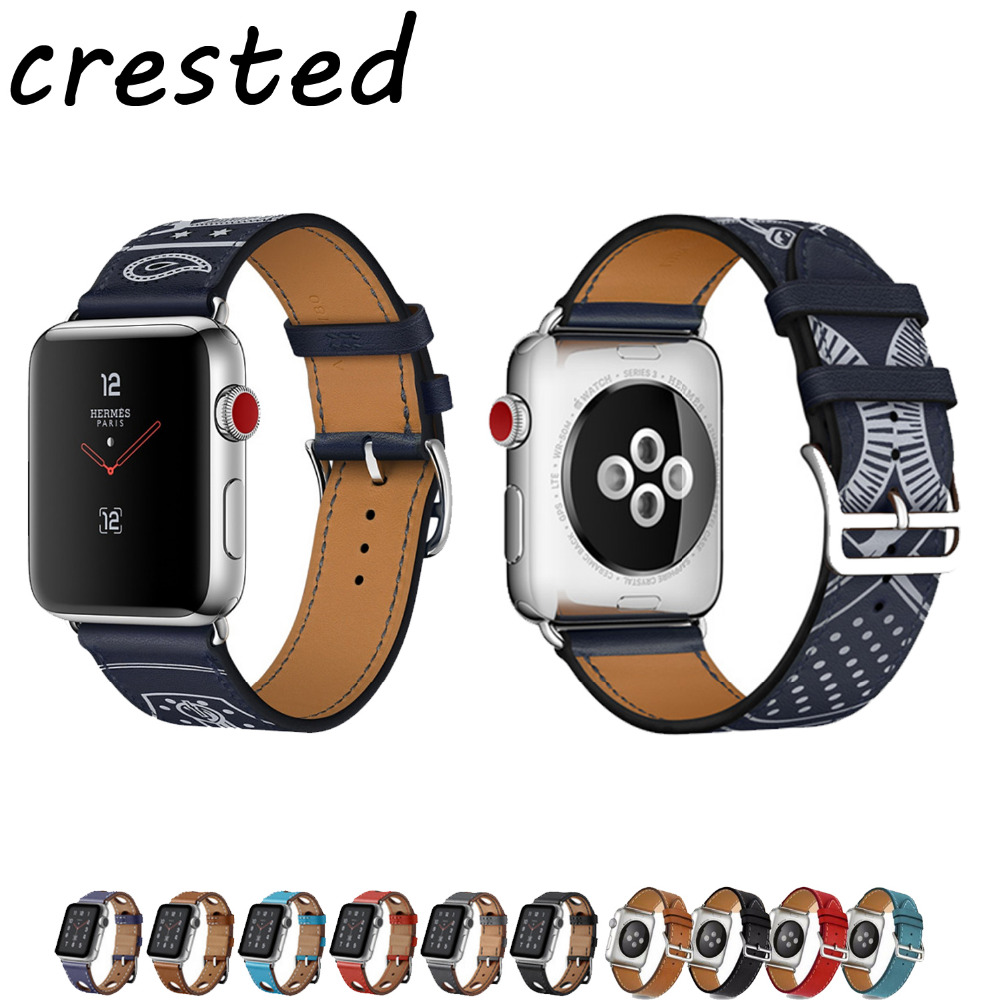 CRESTED leather strap for apple watch band 42mm 38mm single tour bracelet Genuine Leather watchband for iwatch 3/2/1 black band crested genuine leather band strap for apple watch band 42mm 38mm for buckle bracelet with connector adapter for iwatch 1 2 3