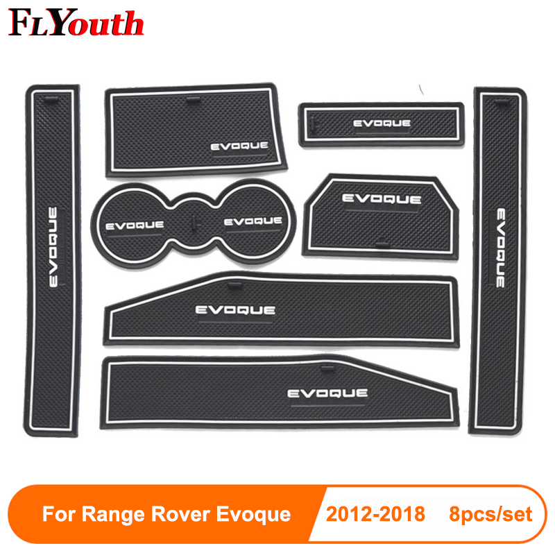 8pcs For Range Rover Evoque 2012-2018 Door Groove Mat Non-Slip Rubber Interior Car Door Armrest Storage Panel Mat Car Styling