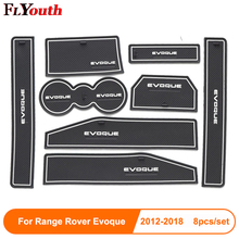 8pcs For Range Rover Evoque 2012-2018 Door Groove Mat Non-Slip Rubber Interior Car Armrest Storage Panel Styling