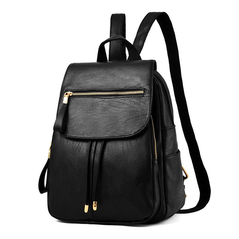 Simple Style Backpack Women PU Leather Backpacks For Teenage Girls School Bags Vintage Solid Zipper Shoulder
