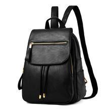 Простой стиль рюкзак Дамские туфли из PU искусственной кожи рюкзаки для девочек-подростков школьные сумки винтажные сумка на молнии черный/вина/синий