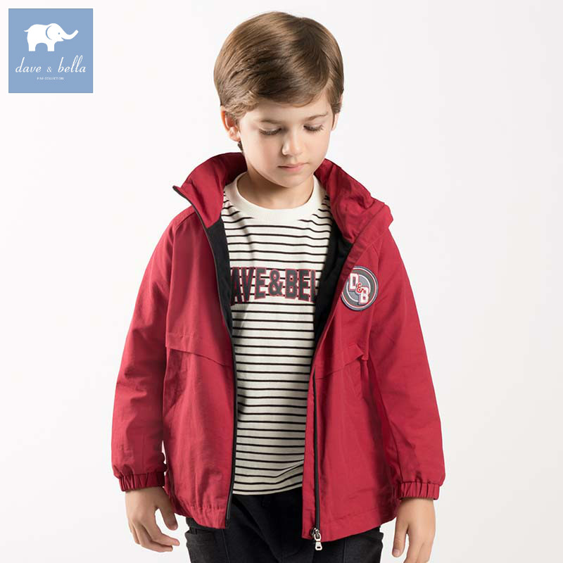 DBK8160 dave bella kids boys autumn fashion hooded coats children high quality long sleeve clothes baby