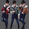 Детская одежда 2016 утолщение мальчики зимние пальто плюс бархат куртка с капюшоном детская одежда пальто теплое зимнее пальто куртка