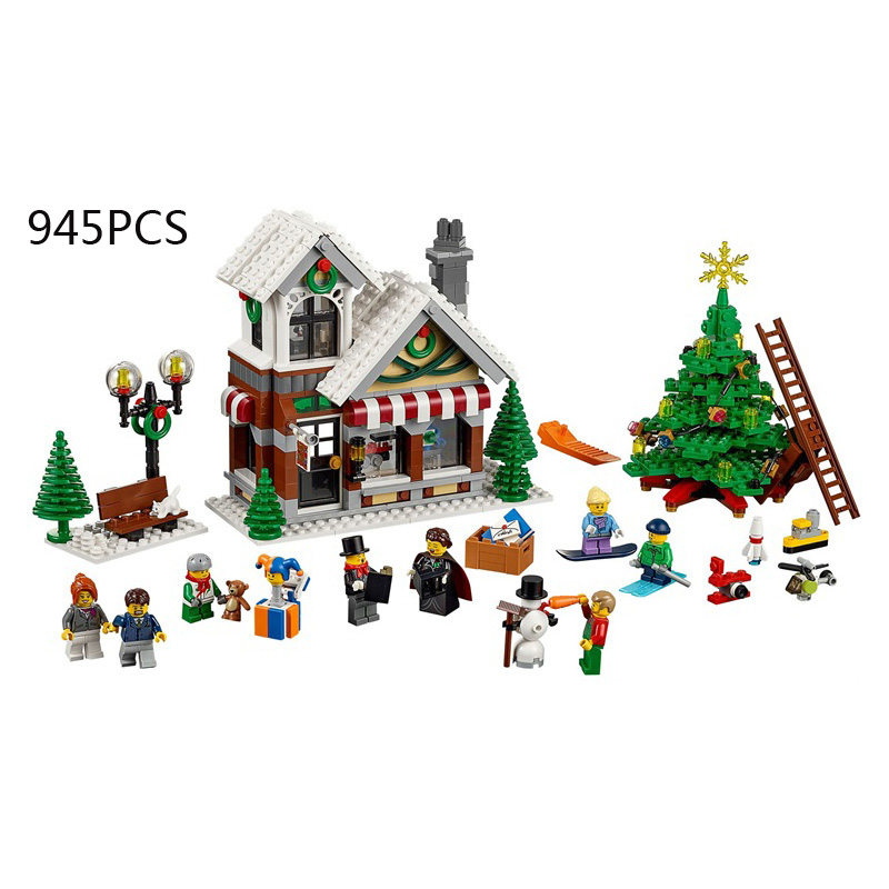 Classic creator city winter toyshop building block with light mini worker Nun figures christmas tree lepins bricks 10249 toys hot classic movie pirates of the caribbean imperial warships building block model mini army figures lepins bricks 10210 toys