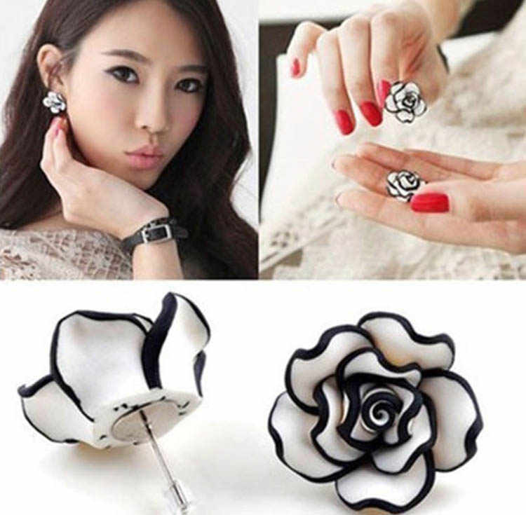 2019 New Fashion Black White Resin Rose Flower Stud Earrings Attract Lady Gril's Jewelry Accessories Drop Shipping