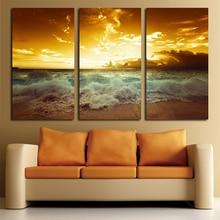 Желтый морской пейзаж, холст для живописи 3 шт. для жизни настенная живопись Домашний Декор холст картины Настенные отпечатки на холсте пляжные