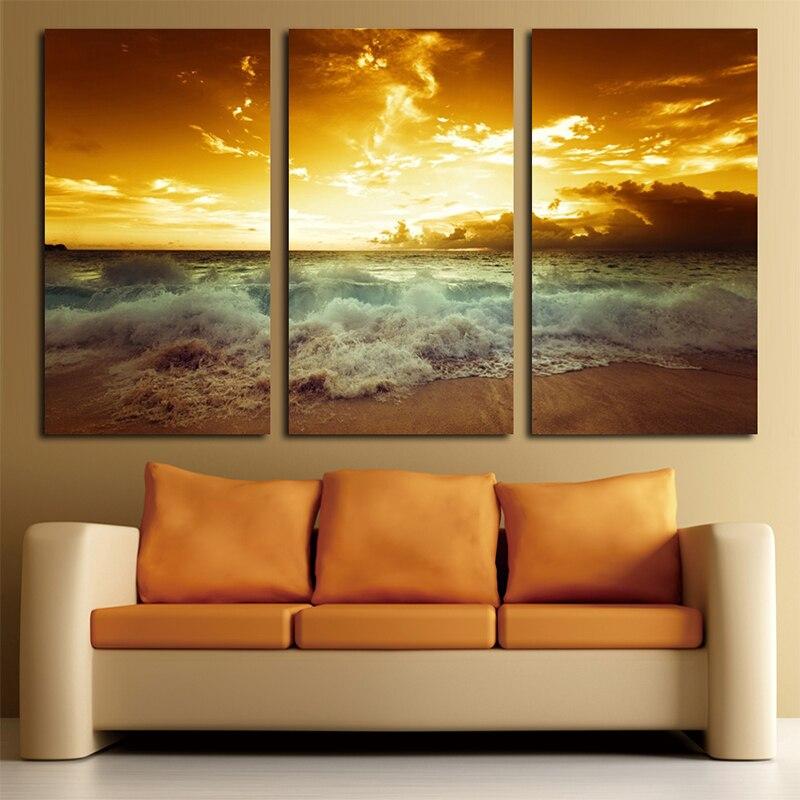 Yellow Sea Landscape Canvas 3 կտոր նկարելու համար - Տնային դեկոր - Լուսանկար 5