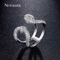 NEWBARK Da Coroa Do Vintage Mulheres Abertas Anéis de Senhora Encantadora U Duplo Cor Grande Qualidade Zirconia Pedra Rainha Símbolo de Prata Anel de Dedo