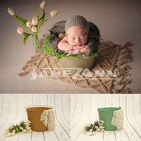 Jane Z Ann Newborn photography prop solid color iron barrel baby photo taking studio prop basket basin frame new style