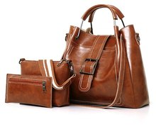 Classic Premium Pu Leather Shoulder Bag Tote Hand Three Piece Suit for Women Lady Mochila Mujer