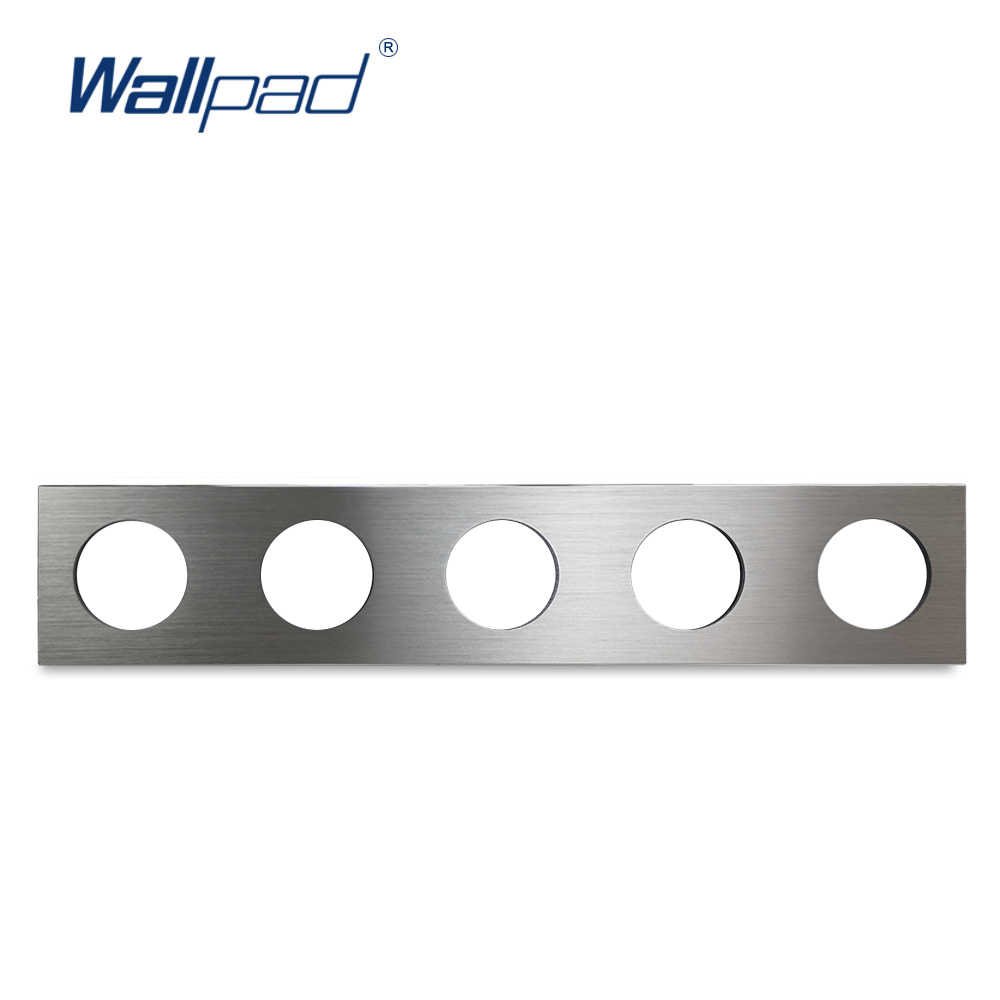 L6 DIY Quintuple 5 marco de aluminio cepillado de Panel plateado para interruptor de pared zócalo de placa de Metal Combinación libre, 430*86mm