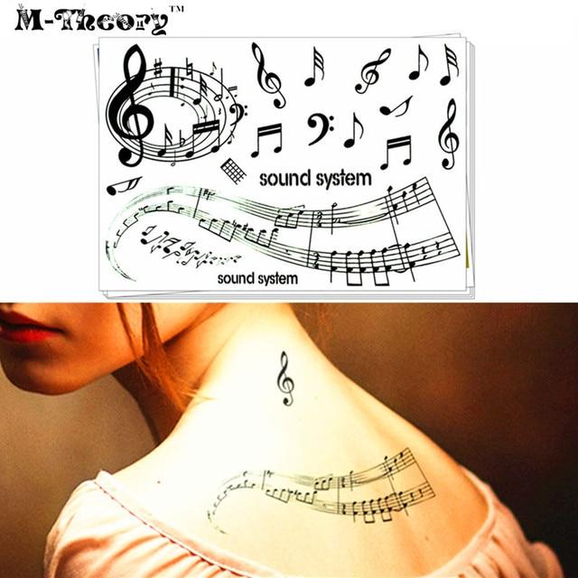 M-Theory Temporary Choker Makeup 3d Tattoos Sticker Music Notes Flash Tatoos Henna Body Art Stickers Tatto Swimsuit Makeup Tools
