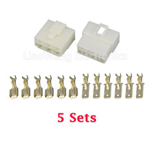 Free Shipping 5 Sets All New 6.3-6 Pin 6.3mm Electrical Wire Connector Plug Male female Automobile
